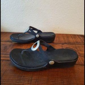 Crocs Womens Black Slip On Flip Flop Sandals